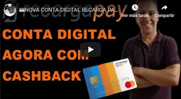 NOVA CONTA DIGITAL RECARGA PAY, AGORA COM CARTÃO E CASHBACK