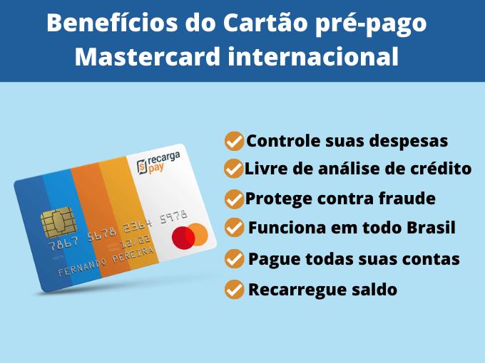 Benefícios do Cartão pré-pago Mastercard internacional